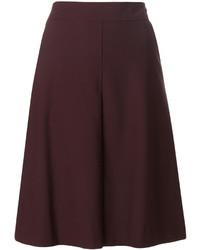 Темно-красная шерстяная короткая юбка-солнце от Etro