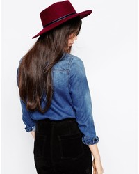 Женская темно-красная шерстяная шляпа от Asos