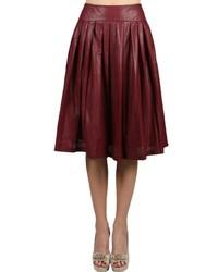 Темно-красная юбка-миди со складками