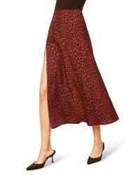 Темно-красная юбка-миди с леопардовым принтом
