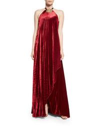 Темно-красное бархатное вечернее платье