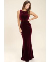 Женское темно-красное бархатное платье-макси от LuLu*s