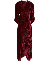 Женское темно-красное бархатное платье-макси от Preen by Thornton Bregazzi