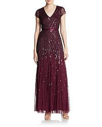 Темно-красное вечернее платье из бисера