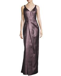 Темно-красное вечернее платье со складками