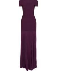Женское темно-красное вечернее платье со складками от Herve Leger