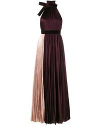 Женское темно-красное вечернее платье со складками от Roksanda