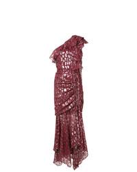 Женское темно-красное вечернее платье с пайетками с украшением от Veronica Beard