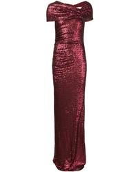Темно-красное вечернее платье с пайетками