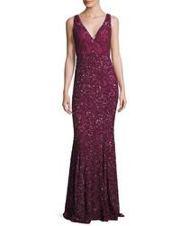 Женское темно-красное вечернее платье с пайетками от Rachel Gilbert