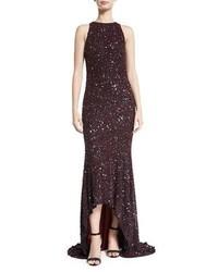 Женское темно-красное вечернее платье с пайетками от Theia