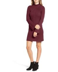 Темно-красное вязаное платье-свитер