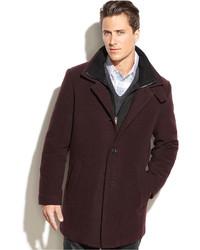 Темно-красное длинное пальто