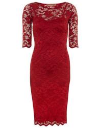 Темно-красное кружевное облегающее платье