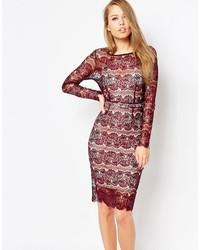 Женское темно-красное кружевное облегающее платье