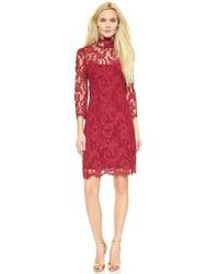 Женское темно-красное кружевное облегающее платье от Marchesa