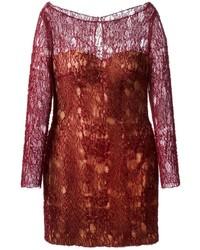 Женское темно-красное кружевное облегающее платье от Mikael