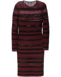 Женское темно-красное облегающее платье в горизонтальную полоску от Alexander McQueen
