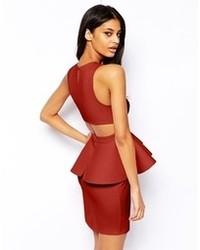 Женское темно-красное облегающее платье с вырезом от Asos