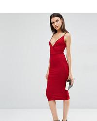 Женское темно-красное облегающее платье