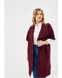 Темно-красное пальто без рукавов от Zar style