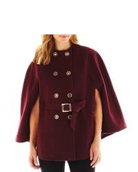 Темно-красное пальто-накидка