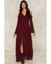 Женское темно-красное платье-макси с разрезом от Factory