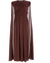 Темно-красное платье-миди со складками