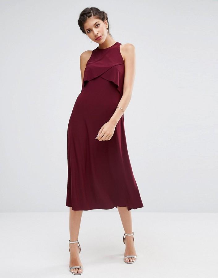 09628afb226 ... Темно-красное платье-миди от Asos ...