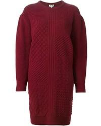 Темно-красное платье-свитер