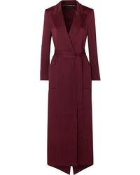 Темно-красное шелковое пальто дастер