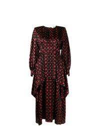 Темно-красное шелковое платье-миди с принтом от Fendi