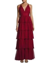 Женское темно-красное шифоновое вечернее платье от Alice + Olivia
