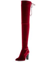 Темно-красные бархатные ботфорты