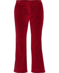Темно-красные бархатные брюки-клеш