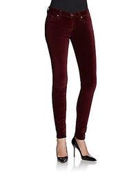 Темно-красные бархатные джинсы