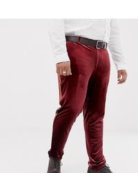 Темно-красные бархатные классические брюки