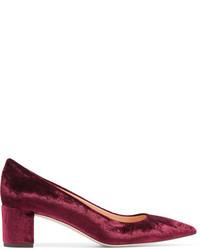 Темно-красные бархатные туфли