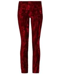 Темно-красные бархатные узкие брюки