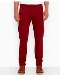 Темно-красные брюки карго