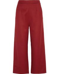 Темно-красные брюки-кюлоты