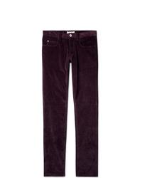 Темно-красные вельветовые брюки чинос
