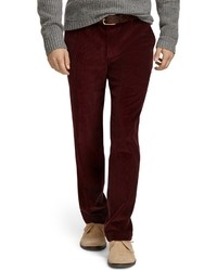 Темно-красные вельветовые джинсы