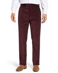 Темно-красные вельветовые классические брюки