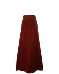 Темно-красные вельветовые широкие брюки