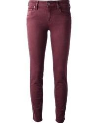 Темно-красные джинсы скинни