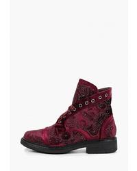 Женские темно-красные замшевые ботинки на шнуровке с украшением от Code