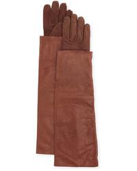 Темно-красные замшевые перчатки