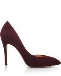 Темно-красные замшевые туфли