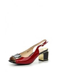 Женские темно-красные кожаные босоножки на каблуке от Marie Collet